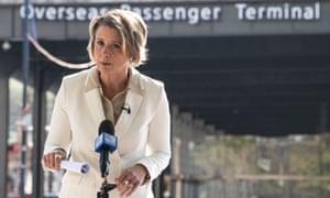 Labor senator Kristina Keneally speaks to the media at the Overseas Passenger Terminal in Sydney