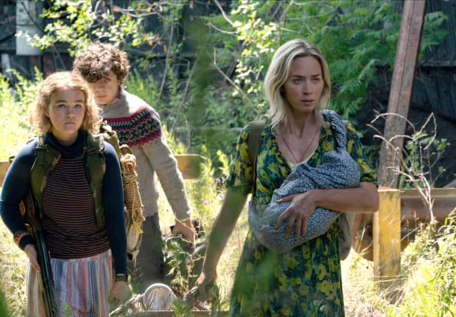 With Millicent Simmonds and Noah Jupe in A Quiet Place 2.