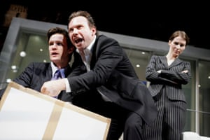 Christian Slater, centre, with Matt Smith and Helen Baxendale in Swimming With Sharks at the Vaudeville theatre, 2007