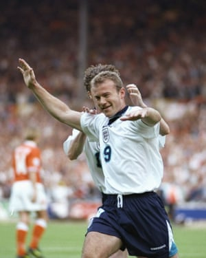 Alan Shearer celebrates scoring his second and England's third goal in the 4-1 win against the Netherlands.