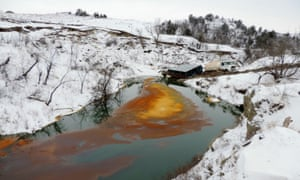 An oil spill from the Belle Fourche pipeline in North Dakota.