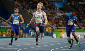 Jonnie Peacock GBR wins the T44 100m final in the Olympic Stadium on Friday