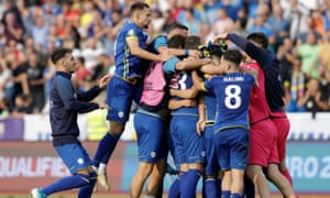 Kosovo celebrate their 2-1 win over the Czech Republic in their Euro 2020 qualifier.