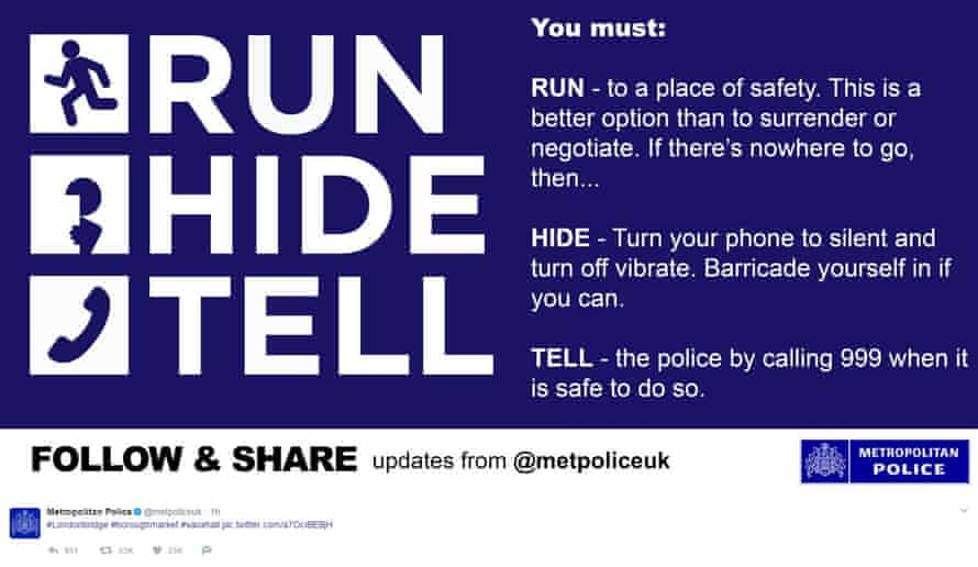 Screengrab from the tweet issued by Metropolitan Police advising people what to do if they were caught up in the terrorist incidents at London Bridge and Borough Market.