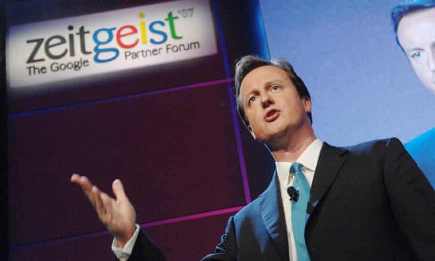 Then-Conservative Party leader David Cameron speaks to delegates at Google Zeitgeist, an annual conference at their headquarters in California, USA, in 2007.