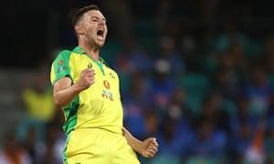 Josh Hazlewood celebrates after taking the wicket of Virat Kohli.