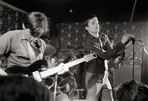 Bernard Sumner and Ian Curtis performing at Bowdon Vale Youth Club in 1979,