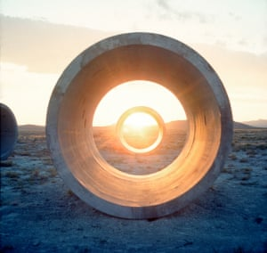 Nancy Holt's Sun Tunnels in Great Basin Desert in Northwestern Utah. The tunnels are aligned with the sun on the horizon (the sunrises and sunsets) on the solstices.