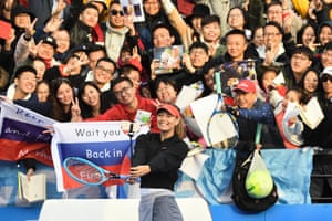 Sharapova celebrates by taking a selfie with fans after beating Timea Bacsinszky in the first round of the 2019 WTA Shenzhen Open, it was the Russsian's 800th career singles match