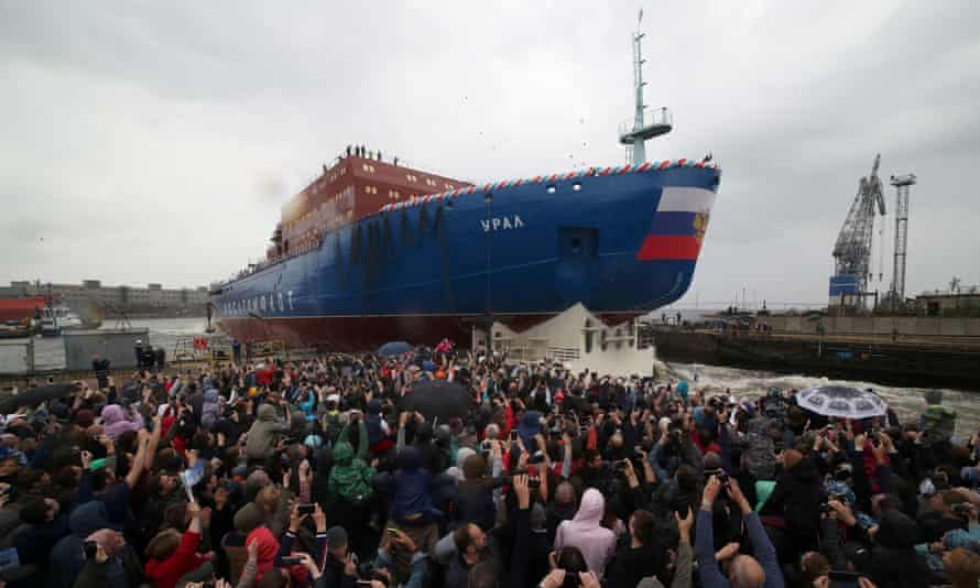 Float out ceremony of the nuclear-powered icebreaker Ural at the Baltic Shipyard in St Petersburg.
