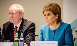 Scotland's first minister Nicola Sturgeon and deputy first minister of Northern Ireland Martin McGuinness at the British-Irish Council.