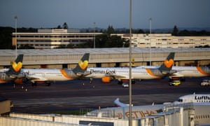 Grounded Thomas Cook planes at Manchester airport on the day the travel operator went into administration.