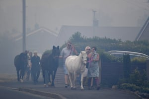 Horses are moved through heavy smoke in Carrbrook where residents are being evacuated