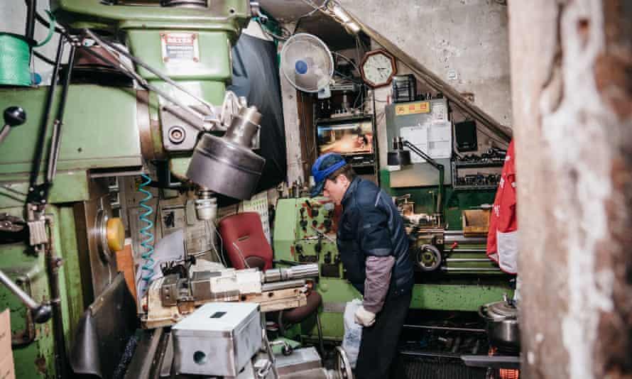 Mr Baek in his metal workshop in Euljiro, Seoul.