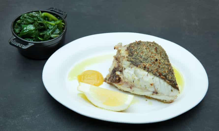 'A terrific piece of fish shown due care and attention': turbot and lemon ketchup.