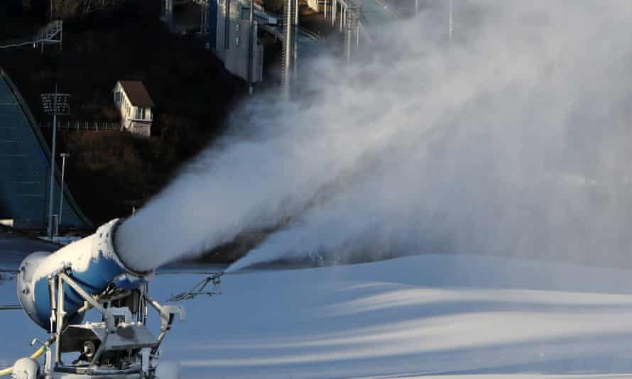 Snow making machine in Pyeongchang in preparation for the 2018 Winter Olympics. The Nigerian women's bobsled team are hoping to be the first Africans to compete in the event.