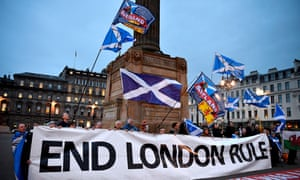 Independence supporters gather in George Square, Glasgow, after Sturgeon's announcement on Monday.