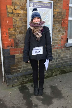 Ruthie Bubis handing out leaflets.