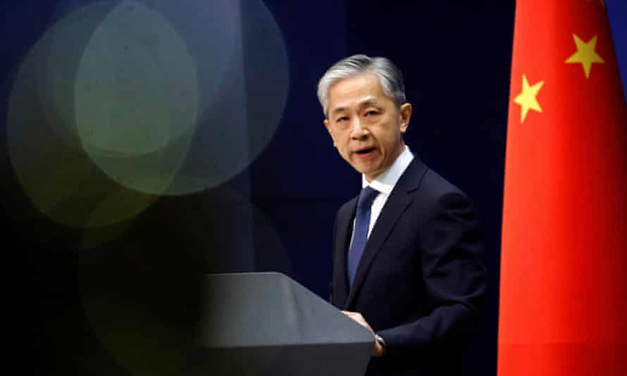 The Chinese foreign ministry spokesman, Wang Wenbin, addresses the media
