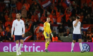 England's Jordan Henderson, Jordan Pickford and Harry Maguire react after conceding their third goal scored by Netherlands' Quincy Promes.