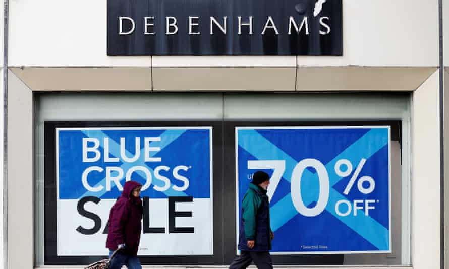 Exterior of Debenhams store with discounts on offer