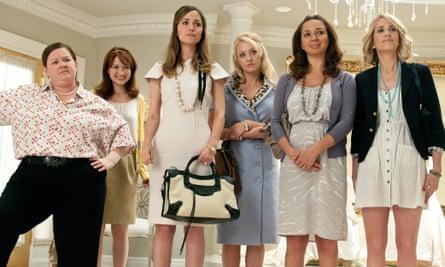 Melissa McCarthy, Ellie Kemper, Byrne, Wendi McLendon-Covey, Maya Rudolph and Kristen Wiig in Bridesmaids.