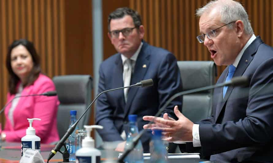 The Victorian and Queensland premiers, Daniel Andrews and Annastacia Palaszczuk, are pushing for the prime minister Scott Morrison to heavily cut international arrivals