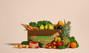 A box of packed with fruit and vegetables from Oddbox