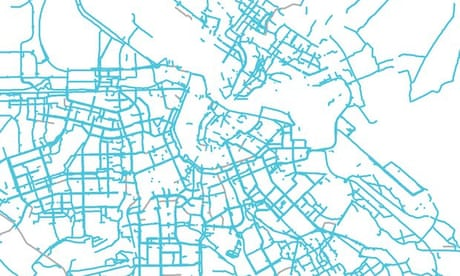 Can you guess the city from its bike lane maps?