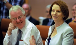 Terry Moran with the former prime minister Julia Gillard