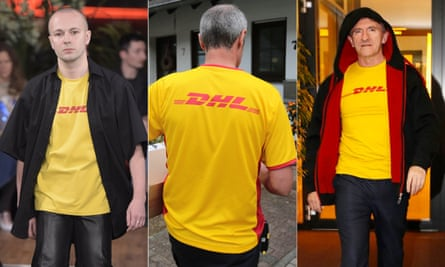 Vetements show, SS 2016, Paris fashion week, a DHL worker, and DHL's CEO Ken Allen, wearing the Vetements T-shirt.