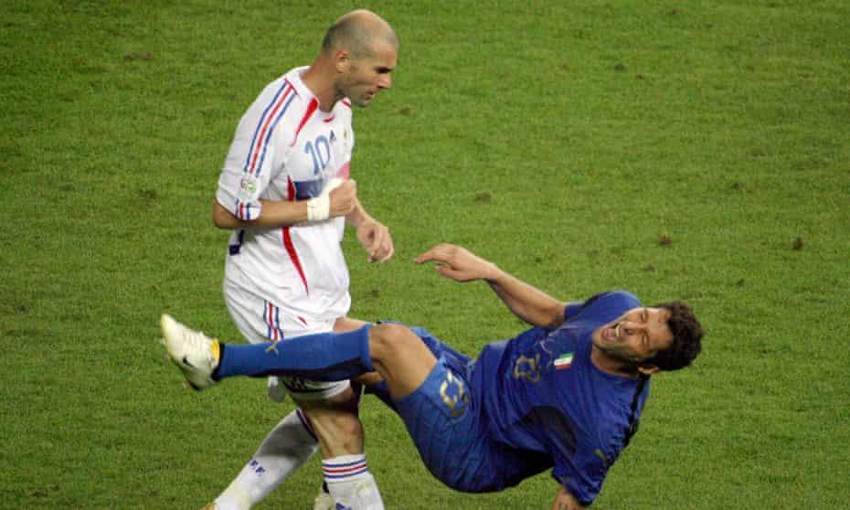 Zinedine Zidane butts Italian defender Marco Materazzi during the 2006 World Cup final.