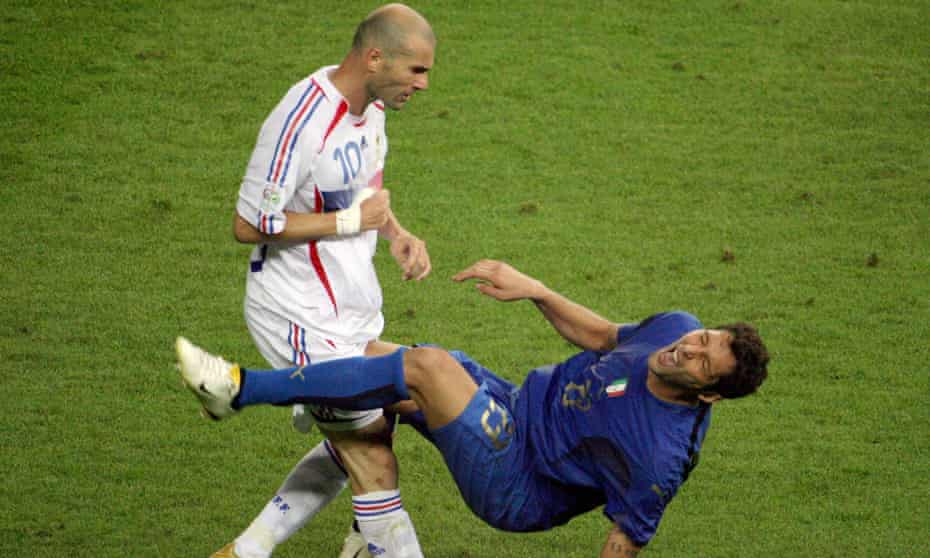 Italy's Marco Materazzi goes down after being butted by Zinedine Zidane of France during the 2006 World Cup final.