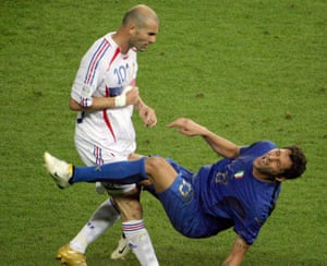 French midfielder Zinedine Zidane (L) and Italian defender Marco Materazzi during the World Cup 2006 final