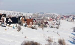 Snow Covered Village Of Bukowina Tatrzanska, Tatra Mountains, Podhale Region, Poland.