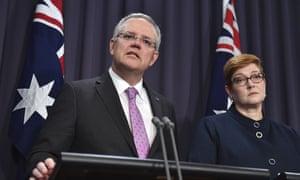 Prime Minister Scott Morrison, left, speaks to the media alongside Minister for Foreign Affairs Marise Payne