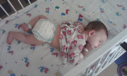 10-month-old Ruby Lee being treated for salmonella poisoning.