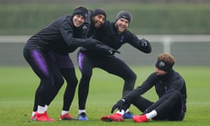 The banter is strong in Spurs training before the game against Chelsea at Wembley.