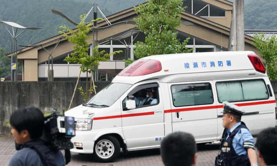 Ambulance outside building in Sagamihara, japan