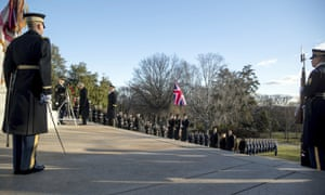 Theresa May lays a wreath at the Tomb of the Unknowns at Arlington National Cemetery.