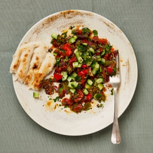 Yotam Ottolenghi's pepper salad with cucumber and herbs.