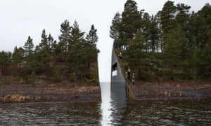 A model of Memory Wound, the winning entry for the memorial by the Swedish artist Jonas Dahlberg
