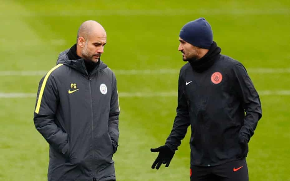 Pep Guardiola and Gundogan during training in 2016. The German international was the Spaniard's first signing for Manchester City