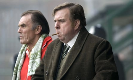 Maurice Roëves as Jimmy Gordon with Timothy Spall as Peter Taylor, right, in The Damned United, 2009.