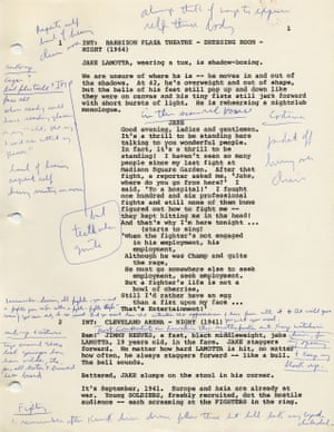 De Niro heavily annotates all his scripts and Raging Bull was no different. His archives show that no detail is too small.