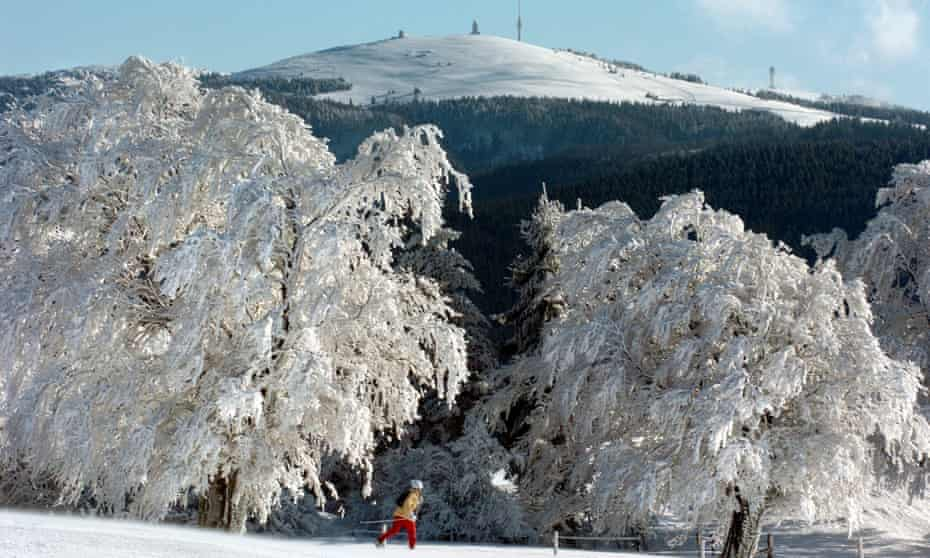 A cross-country skier in the Black Forest, Germany.