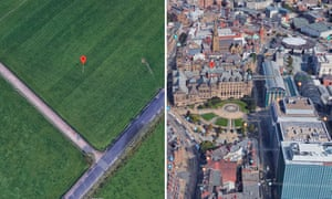 The geometric and traditional centres of Sheffield. A field (left) and Sheffield Town Hall, the Crucible and Winter Garden (right). 'Where the exact centre of a city lies is often hotly disputed,' said Ben Flanagan, a researcher at Esri UK. 'Some cities appear to have no acknowledged central point while others have multiple options.'