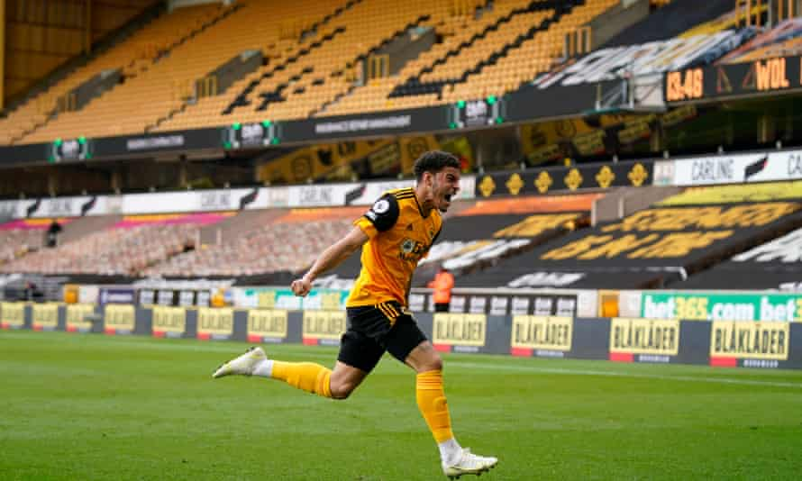 Morgan Gibbs-White celebrates after scoring Wolves' winner in the 90th minute.