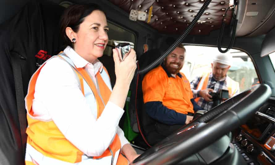 The Queensland premier, Annastacia Palaszczuk,campaigns at at Wholesale Sands and Recycling at Jacobs Well on the Gold Coast