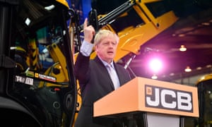 Boris Johnson delivers his Brexit speech at the JCB factory in Rocester, Staffordshire